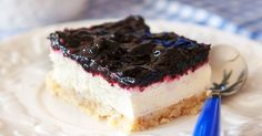 A Yummy blueberry cheesecake bars recipe, this makes a delicious dessert to enjoy with company or family. Blueberry Cheesecake Bars Recipe from Grandmothers Kitchen. Blueberry Cheesecake Bars, Cheesecake Recipes, Dessert Recipes, Cheesecake Squares, Just Desserts, Delicious Desserts, Spring Desserts, Blueberry Recipes, How Sweet Eats