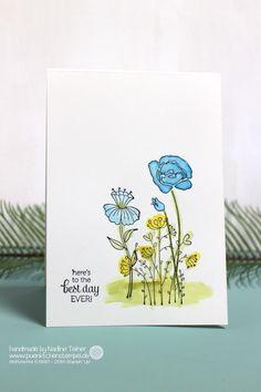 Eine schlichte clean & simple Geburtstagskarte mit dem Stapin' Up! Stempelset Flirty Flowers und Watercolor Effekt