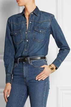 97a4b10542 Blue denim Snap fastenings through front 80% cotton