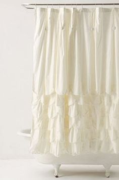 Cream ruffled shower curtain