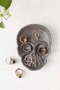 Cast Iron Skull Catch-All Dish- Black One from Urban Outfitters
