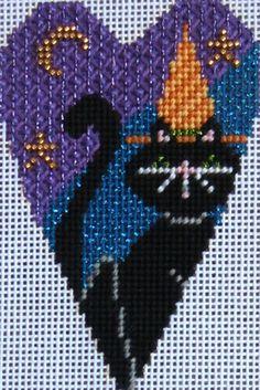 NeedleDeeva black cat Halloween needlepoint heart