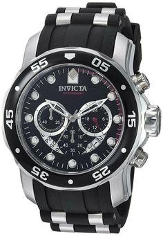 Invicta Men's 6981 Pro Diver Analog Swiss Chronograph Black Polyurethane Watch – Watches for Boys Best Watches For Men, Cool Watches, Wrist Watches, Latest Watches, Cheap Watches, Trendy Watches, Women's Watches, Breitling, Man Fashion