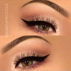Bold liner, subtle shadows w/ a hint of purple. Beautiful balance all around