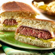 Cuban Burgers Recipe Lunch and Snacks, Main Dishes with hamburger, hellmann' or best food real mayonnais, dijon mustard, cooked ham, swiss cheese, bread ciabatta, dill pickles