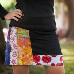 Mix up colors and patterns to make a cute DIY Patched Skirt for fall with this step by step tutorial and also enter the JoAnn Sew Your Style Contest!