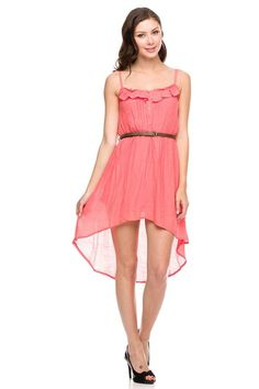 Button Front Belted Hi-Low Dress
