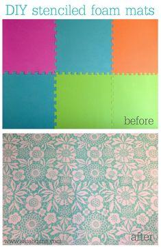 Stenciled foam floor mats using Royal Design Studio's skylar's lace stencil.