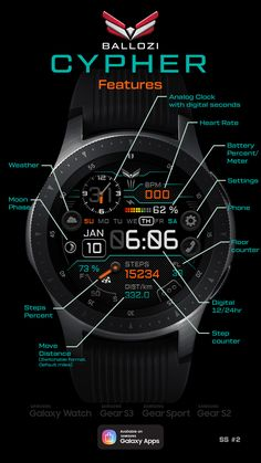 A watch face inspired by space ui designs optimizing the black background for low battery consump. Digital Watch Face, Modern Watches, Watch Faces, Futuristic, Gear 2, Samsung Galaxy, Physics, Apps, Bedroom