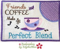 Check out our ith mug rug designs selection for the very best in unique or custom, handmade pieces from our shops. Machine Embroidery Quilts, Embroidery Software, Machine Embroidery Designs, Friends Coffee Mug, Friend Mugs, Mug Rug Tutorial, Mug Rug Patterns, Mug Rugs, Applique Designs