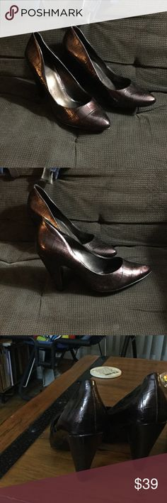 """Jessica Simpson Heels Jessica Simpson Patent leather 4"""" heels. Alligator type print. Very cute. Brown color. Thank you for looking. Jessica Simpson Shoes Heels"""