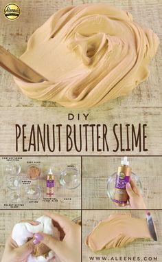 DIY Peanut Butter Slime  #Slime #SlimeKids #DIYSlime#SlimeRecipe #NontoxicSlime#TackyGlue #Aleenes#AleenesAdhesives Quick Crafts, Diy Arts And Crafts, Diy Crafts For Kids, Art Crafts, Butter Slime Recipe, Easy Slime Recipe, Slime Craft, Diy Slime, Slime For Kids