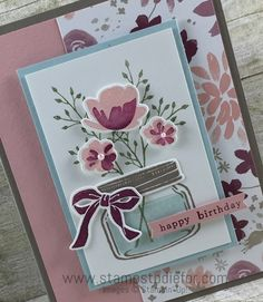 Jar of Love Stamp Set & Blooms and Bliss Designer Series Paper by Stampin' Up! www.stampstodiefor.com 2 Making Greeting Cards, Greeting Cards Handmade, Anna Griffin Cards, Mason Jar Flowers, Mothers Day Cards, Card Sketches, Stampin Up Cards, Scrapbook Cards, Love Jar