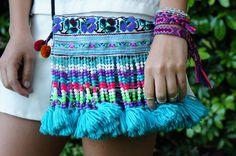 - Blue Tassel shoulder bag - Hmong bag