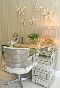 Furniture, Excellent Chrome Chair For Best Desks For Small Spaces Also Unique Swivel Chair Design And Beautiful Flower Decoration On The Wal. Teen Game Rooms, Home Office, Interior S, Interior Design, Interior Ideas, Mirrored Furniture, Mirrored Desk, Office Furniture, Silver Furniture