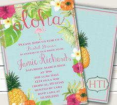 Luau Invitation-Luau Bridal Shower-Hawaii by Hottomatoink2 on Etsy
