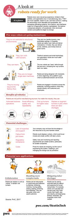 #Robots ready for work [#infographic] http://usblogs.pwc.com/emerging-technology/robots-ready-for-work-infographic/  Capable, easy to use, and cheaper than ever - young #tech up for adoption!