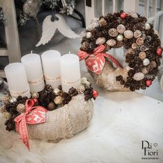 Christmas wreath, table decoration + door hanger bundle / Adventi koszorú és kopogtató