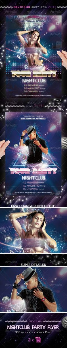 """Nightclub Party Flyer Template - Clubs & Parties Events NightClub Party Flyer Template A sexy, modern, and exclusive flyer, poster, invitation, night club party. Is really easy and fun to make color combinations, please enjoy! Features • The final package you download includes 2 fully layered, renamed, grouped PSD files. • Easy to modify, change colors, dimensions, all text editable. • Size: 4×6"""" • CMYK, Guides & 300 DPI: Print ready! • Easy model photo and text replacement • Very well…"""