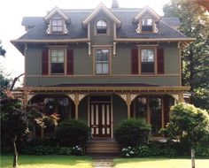 Beautiful Exterior Paint Colors Come with the Amazing Design: Stunning Traitional Green House Exterior Paint Colors Design ~ aggro1.com Exterior Designs Inspiration