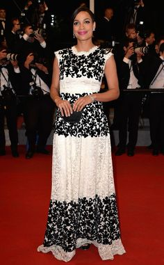 Rosario Dawson dazzles in a feminine black and white floral-inspired Dolce & Gabbana gown.