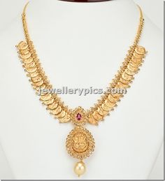 Kasulaperu necklace with uncuts - Latest Jewellery Designs Gold Earrings Designs, Gold Jewellery Design, Necklace Designs, Gold Designs, Silver Earrings, Silver Necklaces, Gold Necklace, Emerald Necklace, Short Necklace