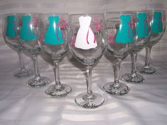 Wedding Glasses, Bachelorette/Bridesmaids Gift wine glasses, 8 personalized monogram, dress wine glasses for wedding. $96.00