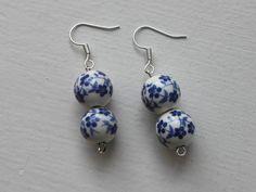 Blue ceramic earrings. Delft colours. Willow pattern. Flower