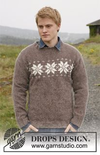 """Eveningstar - Knitted DROPS jumper for men with star border in """"Karisma"""". - Free pattern by DROPS Design Knitting Patterns Free, Free Knitting, Free Pattern, Crochet Patterns, Drops Design, Mens Jumpers, Fair Isle Knitting, Clothing Patterns, Men Sweater"""