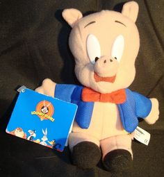 WARNER BROS.-PORKY PIG BEAN PLUSH-WITH TAG-8 INCH-RED BOW TIE-BLUE JACKET-UNIQUE