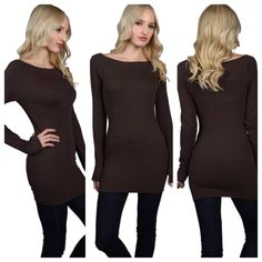 Boat neck body hugging top Go perfect with pair of leggings and some boots . Also available in other color and sizes . Tag says S/M . This listing is for color brown . Tops Tees - Long Sleeve