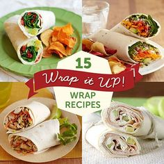 Wraps offer a world of yummy possibilities for a light lunch or dinner. Browse through all these great recipes and make the next meal easy! via 15 Wrap Recipes for Every Meal Lunch Snacks, Healthy Snacks, Healthy Eating, Healthy Recipes, Dessert Healthy, Work Lunches, I Love Food, Good Food, Yummy Food