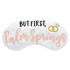 Palm Springs bachelorette party favors! Embroidered on white satin. Pink and black lettering along with Metallic wedding rings set the scene for resting up before and after the partys over! Masks measure approx. 7 wide and are sized for ages 8 and up with soft elastic band. Each handcrafted sleep mask is filled with plush batting and is machine washable (delicate cycle) Hang to Dry. Includes satin storage bag thats perfect for travel. The Sleepy Cottage designs are created in house on…