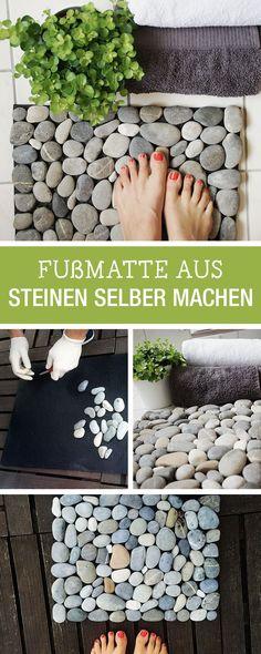 DIY-Anleitung: Fußmatte aus Steinen selbst machen, Deine Badezimmerdeko / DIY tutorial: crafting a flor mat of stones, bathroom decor via DaWanda.com