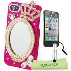 Amazon.com: Frog tech - handmade luxury mirror & Bling 3D Hot pink shell and Diamond Crystal Crown for girl For iPhone4 4S+Free Frog Technology Stylus + microfiber cleaning cloth + screen protector: Cell Phones & Accessories