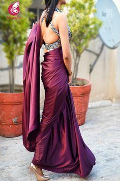 Buy Wine Satin Saree Online in India Sari Blouse Designs, Fancy Blouse Designs, Bridal Blouse Designs, Fancy Sarees Party Wear, Saree Designs Party Wear, Party Wear Sarees Online, Party Sarees, Wedding Sarees, Bridal Sarees
