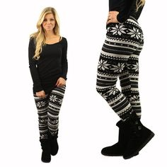 Snow Day Fleece Lined Leggings from Flourish Boutique Legging Outfits, Black Leggings Outfit, Black And White Leggings, Black White, Patterned Leggings, Printed Leggings, Thick Leggings, Leggings Are Not Pants, Nike Zoom