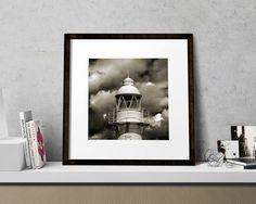 Lighthouse Beach House Decor Black and White by BrightBlueStar
