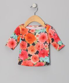 Take a look at this Orange & Green Rose Three-Quarter Sleeve Tee - Infant on zulily today!