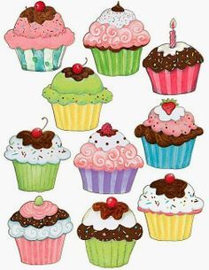 Teacher Created Resources Cupcakes Accents from Susan Winget Cupcake Illustration, Diy And Crafts, Arts And Crafts, Paper Crafts, Cupcake Kunst, Pinterest Pinturas, Cupcake Torte, Decoration Creche, Decorations