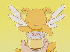 gif anime Otaku comida comer rico anime gif kero alas rica Sakura card captor amarillo scc Budín kerveros kero gif