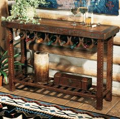 Horseshoe Wine Rack Table- would be good to do to one of my existing tables and would save space!
