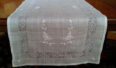Vintage White on White Embroidered Rice Linen Table Runner Filet Lace 44 | eBay