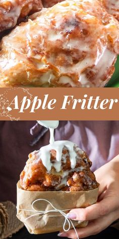 Fluffy fried apple fritters with a homemade glaze. Better than a doughnut shop. Apple Fritter Recipes, Donut Recipes, Baking Recipes, Apple Recipes No Oven, Easy No Bake Desserts, Delicious Desserts, Dessert Recipes, Yummy Food, Breakfast Recipes