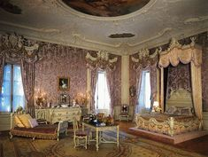 Marble House - Mrs. Vanderbilt's lilac colored bedroom, Rococo Revival style