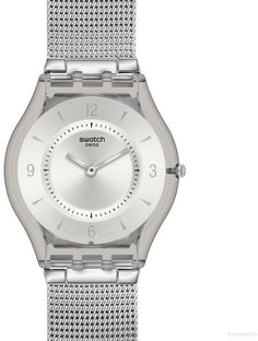 4743b35145b28 Swatch Metal Knit watch in stainless steel