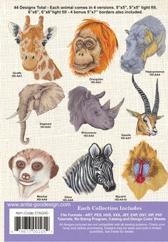 Anita Goodesign | African Animals - Anita Goodesign Nice designs to use for projects.