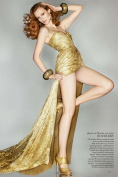 The British Vogue 'Midas Touch' Editorial Karen Elson