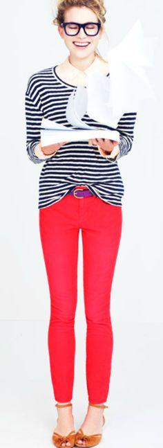stripes + bright jeans.