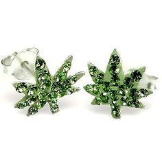 Crystal Ganja Sterling Silver Earrings Post/stud: www.amazon.com/...